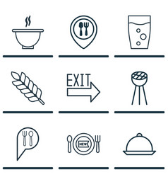 Set of 9 meal icons includes fresh dining check vector