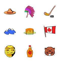 Canadian travel icons set cartoon style vector