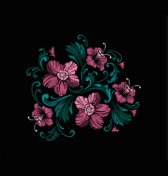 Embroidery design in baroque style vector