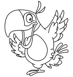 Outlined dancing parrot vector