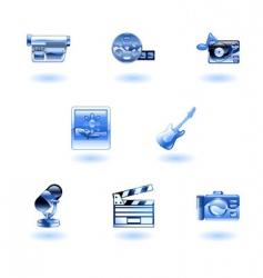 shiny media icons vector image