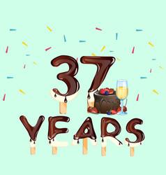 37 years anniversary invitation card vector image vector image