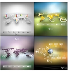Set of world maps in perspective blurred vector image
