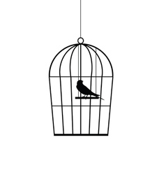 Sparrow in a cage black vector