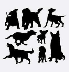 Dog action silhouettes vector