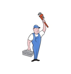 Plumber toolbox raising monkey wrench cartoon vector
