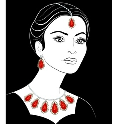 Girl with jewelery vector