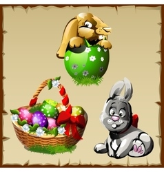 Easter bunnies and large basket with colorful eggs vector