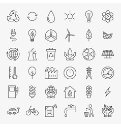 Ecology line art design icons big set vector
