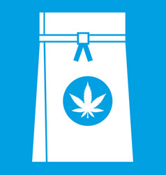 Bag with cannabis icon white vector