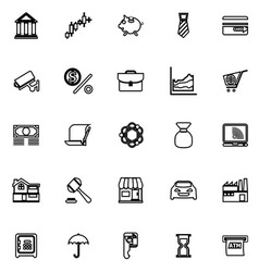 Banking and financial line icons on white vector