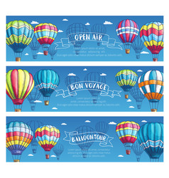 Banners for hot air balloon tour or show vector