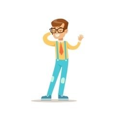 Boy in glasses speaking on the phone traditional vector