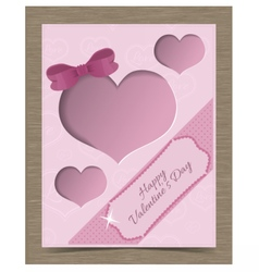 Clipped Pink Valentine Card Template with Hearts vector image vector image