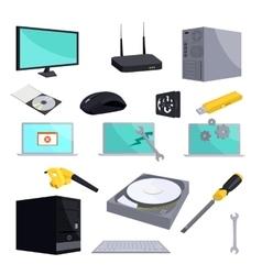Computer repair icons set cartoon style vector