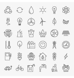 Ecology line art design icons big set vector
