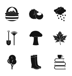 Falling leaves season icons set simple style vector