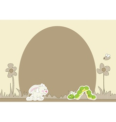 Flower background with rabbit vector