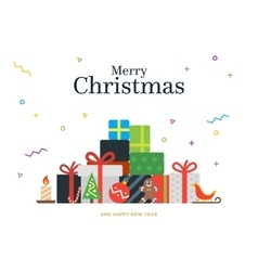 Gift boxes bunch and christmas balls candy vector image vector image