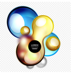 Glass bubbles on grey modern techno liquid design vector