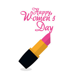 happy womens day lipstick pink vector image