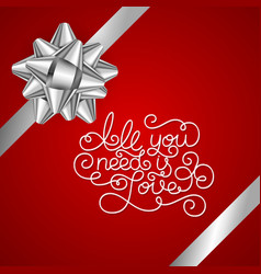 holiday gift card with hand lettering all you need vector image vector image