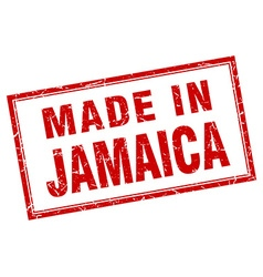 Jamaica red square grunge made in stamp vector image vector image