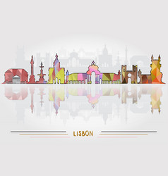 lisbon city background vector image