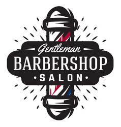 Logo for barbershop with barber pole in vintage vector