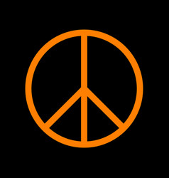 Peace sign orange icon on black vector