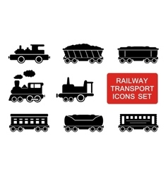 railway transport icons vector image vector image