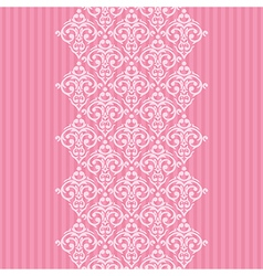 seamless pink frameborder in damask baroque style vector image vector image