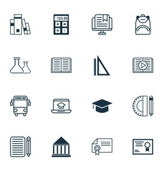 Set of 16 school icons includes education center vector