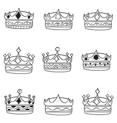 Set of crown hand draw style vector
