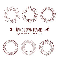 set of hand drawn badges borders and frames vector image