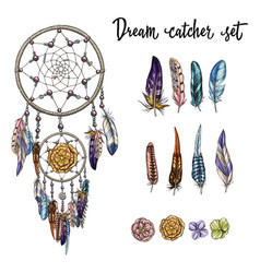 set of hand drawn ornate dreamcatcher vector image vector image