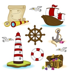 set of isolated nautical elements vector image