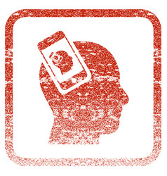 Smartphone head plugin recursion framed textured vector