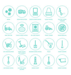 Snow removal flat line icons ice relocation vector
