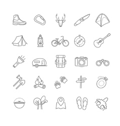 Summer camping icons set vector