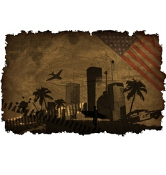 urban cities with large palm trees vector image vector image
