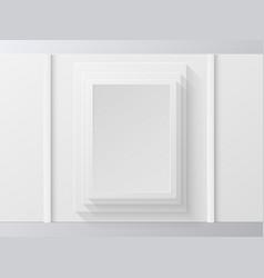 white photo frame on white wall vector image