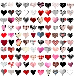 100 hearts set vector image