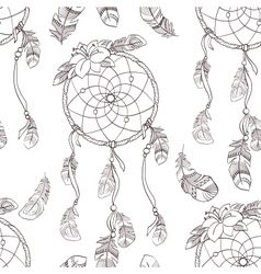 Seamless ethnic ornate dreamcatcher pattern vector