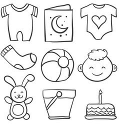 set of baby theme doodles vector image