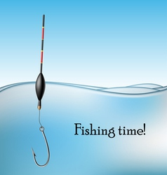 Fishing float and hook in water vector image