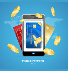 Realistic mobile phone payment concept with credit vector