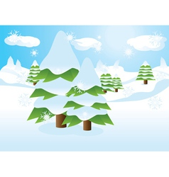 Fir trees on slope vector