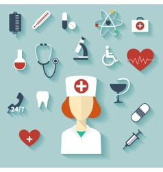 Flat design modern of medical icons vector