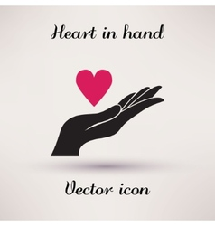 Pictograph of heart in hand icon template for vector
